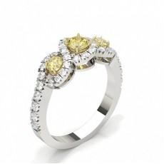 Bague Trilogie epaulee diamant jaune/blanc