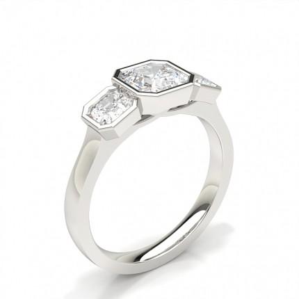Bezel Setting Asscher  Trilogy Diamond Engagement Ring