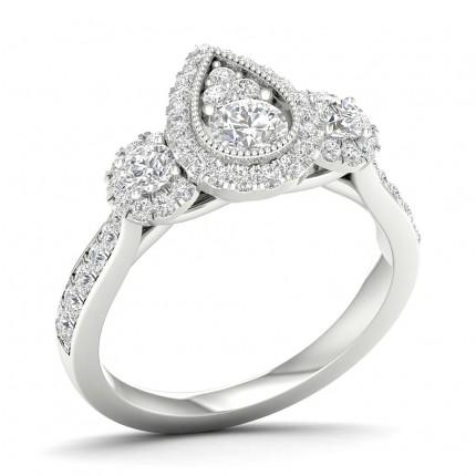 Micro Pave Setting Round Diamond Trilogy Ring
