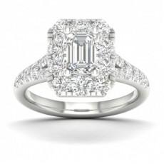 Micro Pave Setting Emerald Diamond Halo Engagement Ring