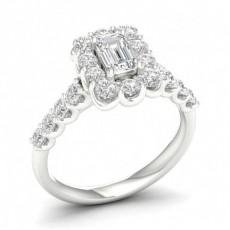 Prong Setting Emerald Diamond Halo Engagment Ring