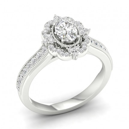 Micro Pave Setting Oval Diamond Halo Ring