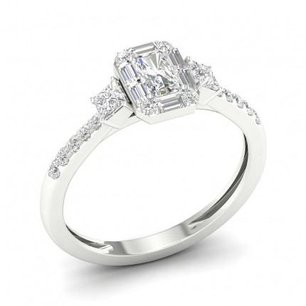 Prong Setting Emerald Diamond Trilogy Ring