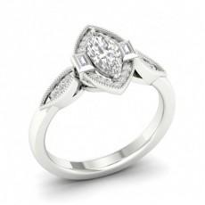 Micro Pave Setting Marquise Diamond Halo Ring