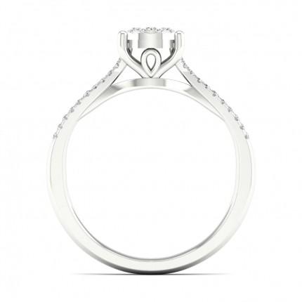 Micro Pave Setting Round Diamond Cluster Ring