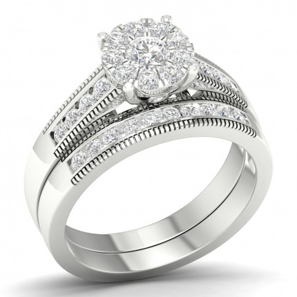 Channel Setting Round Diamond Cluster Ring With Matching Band