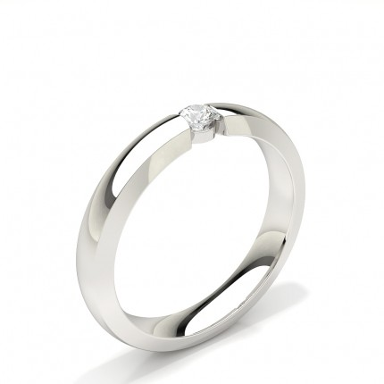 Channel Set Solitaire Diamond Womens Wedding Band
