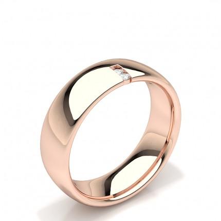 Channel Set Round Diamond Comfirt Fit Womens Wedding Ring