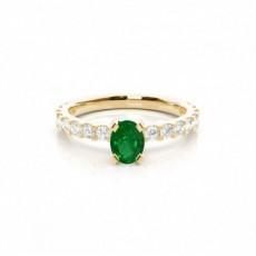 Zinkeneinstellung Ovaler Smaragd-Seitensteinring