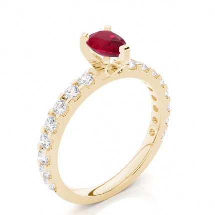 Prong Setting Pear Ruby Side Stone Ring