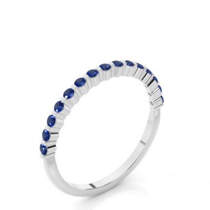 Prong Setting Round Blue Sapphire Half Eternity Ring