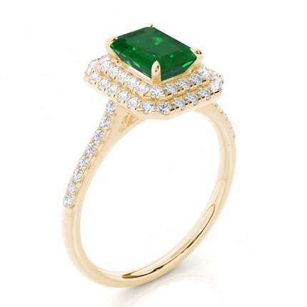 Prong Setting Emerald Halo Ring