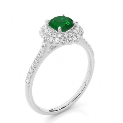 Prong Setting Round Emerald Halo Ring