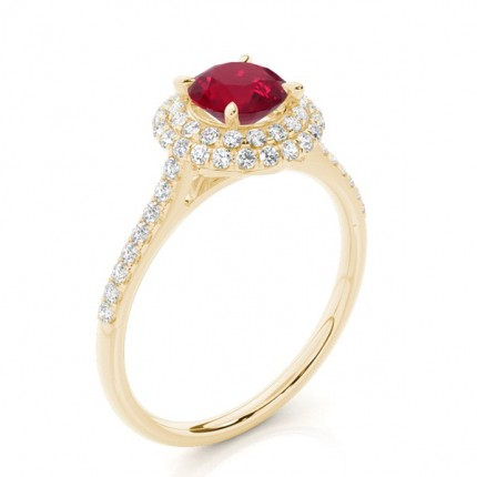 Prong Setting Round Ruby Halo Ring