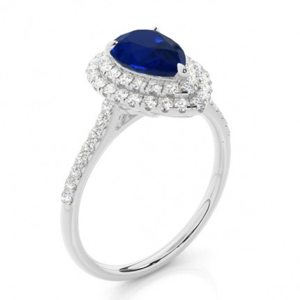 Prong Setting Pear Blue Sapphire Halo Ring