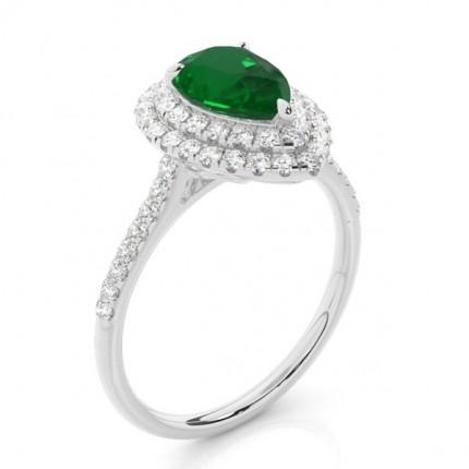 Prong Setting Pear Emerald Halo Ring