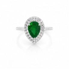 Zinkeneinstellung Birnen-Smaragd-Halo-Ring