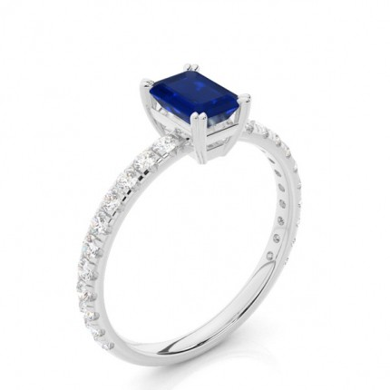 Prong Setting Emerald Blue Sapphire Engagement Ring
