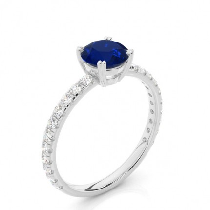 Prong Setting Round Blue Sapphire Engagement Ring