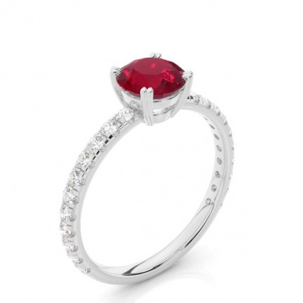 Prong Setting Round Ruby Engagement Ring