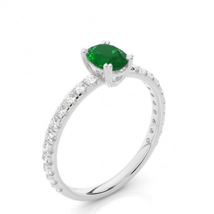 Prong Setting Oval Emerald Engagement Ring