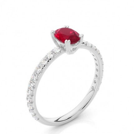 Prong Setting Oval Ruby Engagement Ring