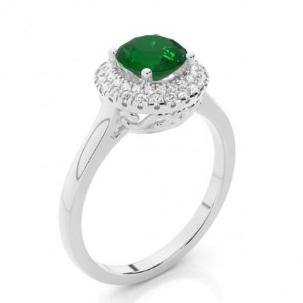 Prong Setting Round Emerald Halo Engagement Ring