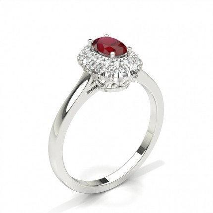 Prong Setting Oval Ruby Halo Engagement Ring