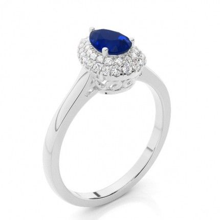 Prong Setting Pear Blue Sapphire Halo Engagement Ring