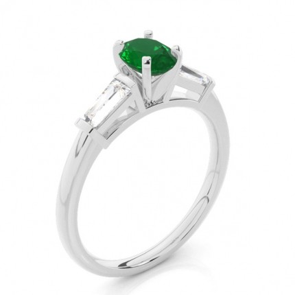 Prong Setting Oval Emerald Three Stone Ring