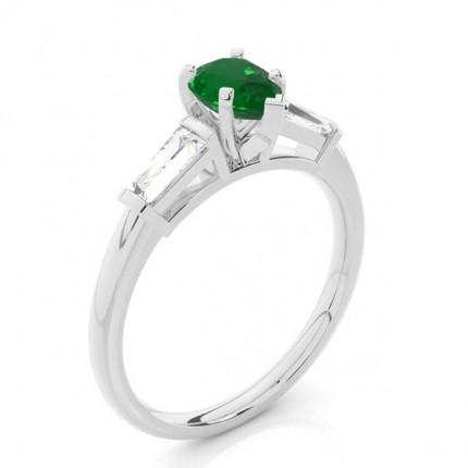 Prong Setting Pear Emerald Three Stone Ring