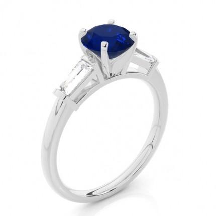 Prong Setting Round Blue Sapphire Three Stone Ring