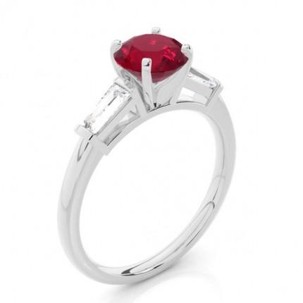Prong Setting Round Ruby Three Stone Ring
