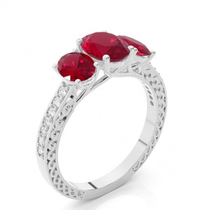 Prong Setting Oval Ruby Vintage Ring