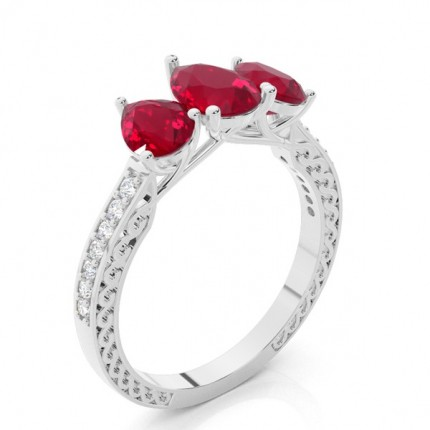 Prong Setting Pear Ruby Vintage Ring