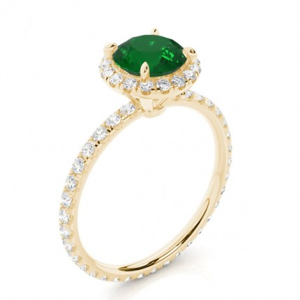 Prong Setting Round Emerald Side Stone Ring
