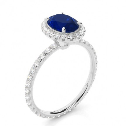Prong Setting Oval Blue Sapphire Side Stone Ring