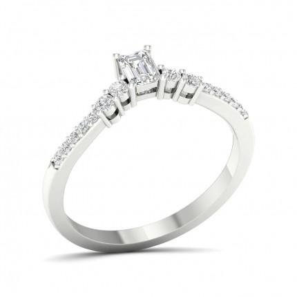Prong Setting Round Diamond Side Stone Engagement Ring