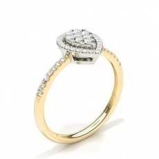 Bague en grappe de diamants ronds sertis griffes invisibles