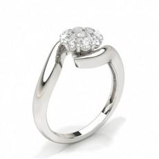 Bague en grappe de diamants ronds serti griffes