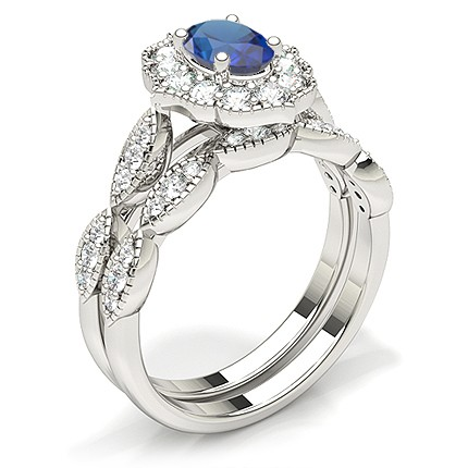 Prong Setting Oval Halo Blue Sapphire Engagement Ring