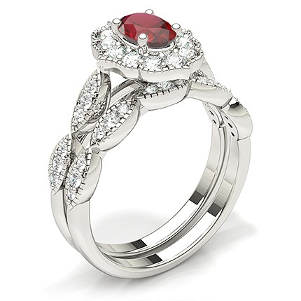 Prong Setting Oval Halo Ruby Engagement Ring