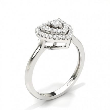 Shared Prong Setting Round Halo Engagement Ring