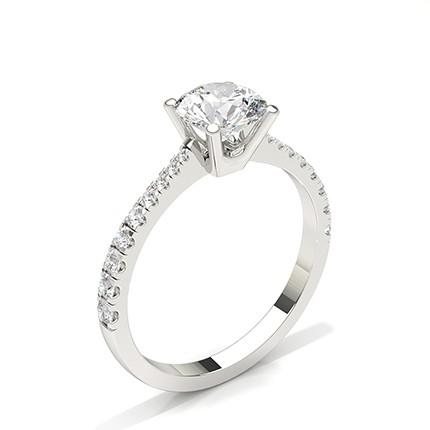 Prong Set Round Side Stone Diamond Engagement Ring