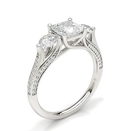 Prong Setting Trilogy Diamond Engagement Ring