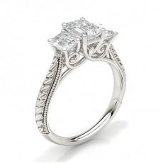 Emerald Diamond Rings Three Stone