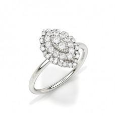 White Gold Diamond Cluster Rings