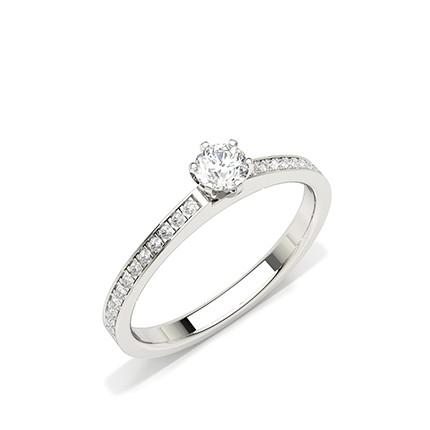 Prong Setting Side Stone Diamond Engagement Ring