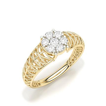 Pressure Set Round Diamond Cluster Ring