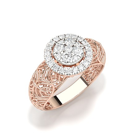 Druckeinstellung runder Diamantclusterring
